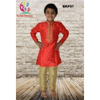 Fancy Tomato Red Printex Silk Party Wear Kids Kurta Pajama
