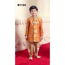 Festive Orange Printed Indo-Western Kids Dhoti Kurta Suit