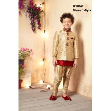 Gold Maroon Readymade Sherwani Kurtha Pajama w/ Jacket 1 - 8 Years