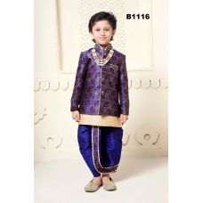Gorgeous Royal Blue Silk Jacket-Kurta Pyjama & Dhoti Set