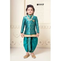 Green Silk Jacket-Kurta Pyjama & Dhoti Set for Children