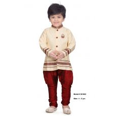 Kids Party Wear Pearl White Kurta & Red Pajama Set