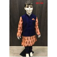 Kids Plain Blue Waist Coat w/ Silk Floral Design Kurta set