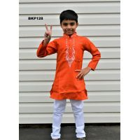 Orange Cotton Kurta Pajama Set w/  Embroidery for Children