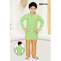 Pista Green Raw Silk Kurta Pajama With Gold Butti w/ Embroidery