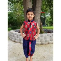 Red Blue Floral Design Dhoti Kurta for 6 Months to 4 Year Boys
