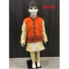 Silk Kurta Pajama w/ Printed Orange Waist Coat Set