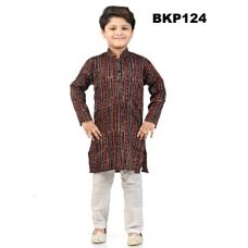 Soft Cotton Block Printed Kurta Pajama Set for Kids