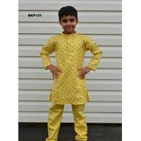 Soft Cotton Printed Lemon Yellow Kids Kurta Pajama
