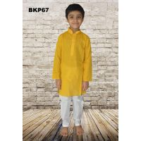 Teenage Boys Yellow Cotton Casual Wear Kurta Pajama - 1 to 15 Years