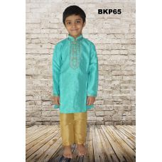 Teenager Boys Sea Green Silk Party Wear Kurta Pajama