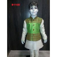 White Silk Kurta Pajama w/ Embroidered Green Jacket for Boys