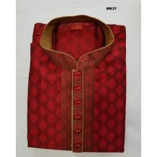 Brick Red Brocade Partywear Kurta Pajama Set for Men