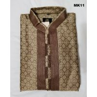 Elegant Brown & Gold Color Brocade Silk Kurta Pajama L/XL