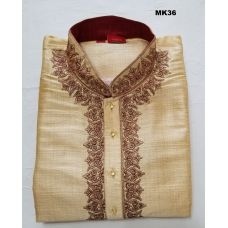 Exquisite Dupion Silk Beige Kurta Pajama Set w/ Embroidery