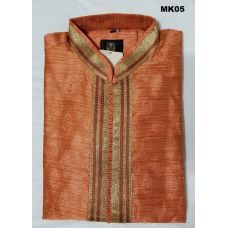 Festive Design Orange Jaquard Raw Silk Kurta Pajama M/L