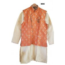 Indian Ethnic Party Wear Waistcoat Classic Orange Kurta & Churidar Set