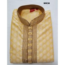 Lemon Yellow Brocade Kurta Pajama Set for Men
