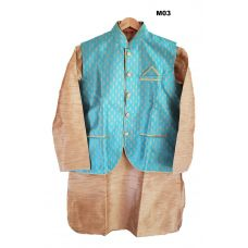 Men's Benarasi Silk Blue Modi Jacket w/ Kurta & Churidar Set