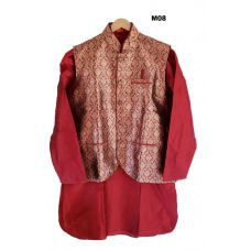 Men's Benarasi Silk Maroon Modi Jacket w/ Kurta & Churidar Set