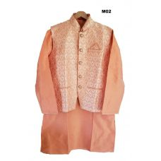 Men's Benarasi Silk Peach Modi Jacket w/ Kurta & Churidar Set