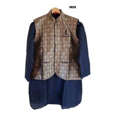 Men's Benarasi Silk Royal Blue Modi Jacket w/ Kurta & Churidar Set