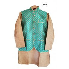 Men's Benarasi Silk Sea Green Modi Jacket w/ Kurta & Churidar Set