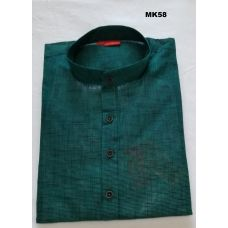 Men's Indian Classic Handloom Cotton Checks Green Kurta Tunic