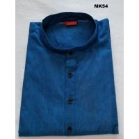 Men's Indian Classic Handloom Cotton Rama Blue Kurta Tunic