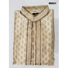 Men's Off White & Gold Printed Raw Silk Kurta Pajama M/L