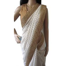 Designer Cream Butta & Gold Border Saree
