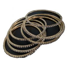White Stone Studded Bangle Set In Golden - 2.4