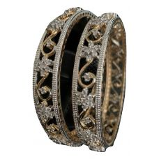 Gold Plated White Stone Studded Bangle Set - Size 2.4