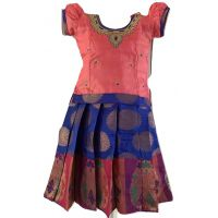 Blue and Pink Chanderi Pattu Pavada Size 16 (1yrs to 2yrs)