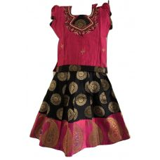 Black and Pink Pattu Pavada/Parikini Size 18 (2yrs to 3yrs)