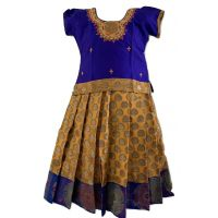 Yellow and Blue Chanderi Pattu Pavada / Parikini - Size 18 ( 2yrs to 3yrs )