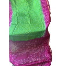 GREEN & PINK BANDHANI SAREE